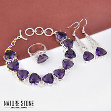 3 Items 1 Set Mystical Purple Amethyst Gems Bracelet Earrings Ring Silver Size 9