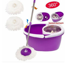 Easy Magic Floor Mop 360°Bucket 2 Heads Microfiber Spinning Rotating Head Purple