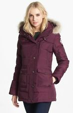 Pajar Serena Genuine Coyote Fur Trim Down Parka Burgundy Coat Jacket Size Medium