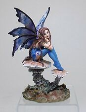 Blue Nice Pondering Forest Faery Fairy Statue Figurine Amy Brown Art Collection