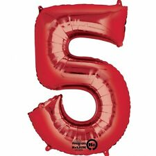 "Giant Jumbo 34"" Number No. 5 Red Helium Foil Balloon Party 5th 25th 50th 65th"