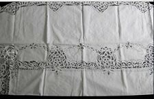 "oval Vintage Battenburg Lace Tablecloth~72""x108"" item no 1391b"