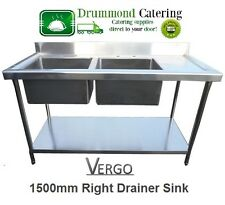 Commercial Catering Kitchen Stainless Steel Sink 150cm Double Bowl Right Drainer