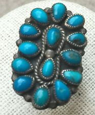 Vintage Pawn Sterling Silver Turquoise Large Zuni Petite Point ring Size 6 1/2