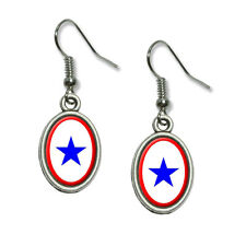 Blue Star Flag - One 1 War Mother Service - Dangling Drop Oval Charm Earrings