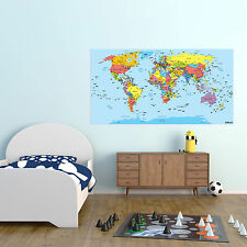 World Map Atlas Vinyl Sticker for School, Office, Home Wall Art Decor (140x60cm)