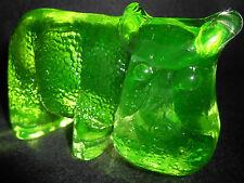 Green Vaseline Uranium glass hippopotamus art paperweight hippo figurine animal