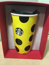 New 2015 Starbucks Ceramic Yellow Citron Dot Christmas Traveler Tumbler 12 Fl Oz