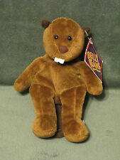 """Beaver CHIP Plush 8"""" Brown  1997 Mary Meyer Belly Beans Bean Bag w/ tags"""