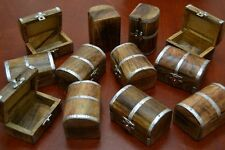 12 PCS CARVED TREASURE CHEST JEWELRY TRINKET WOOD BOXES #F-391
