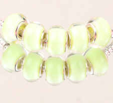 10PCS SILVER MURANO LAMPWORK charm beads fit European Bracelet wholesale AA045