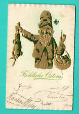 GERMANY EASTER GNOME RABBIT AND EGGS VINTAGE EMBOSSED POSTCARD USED 275