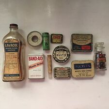 11 VINTAGE ORIGINAL SUCRETS BAND-AID LAVACOL ANACIN EX-LAX SALVE TIN GLASS LOT