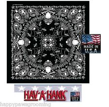 "SKELETON PAISLEY Skull Crossbones 22"" Bandana Bandanna Head Wrap Scarf*USA MADE"