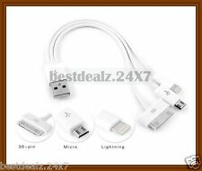 New Multi 3 in 1 Charging Data Cable for Micro USB Phones, iPhone, iPad, iPod