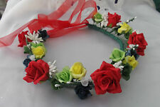 Red/Green/Blue/Yellow/White  Flower Circlet  -  Wedding Halo - by Valerie J