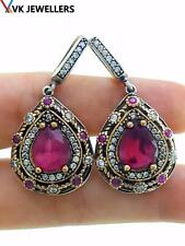 TURKISH OTTOMAN HANDMADE SULTAN JEWELRY 925 STERLING SILVER RUBY EARRINGS B18