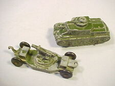 GROUP OF 2 OLD VINTAGE TOOTSIE TOY ARMY TANK AND BIG GUN ON TRAILER AS SEEN NR!!