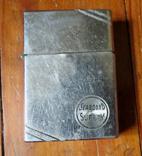 ZIPPO LIGHTER c 1938 SLASH CORNERS - REVERSED ENGRAVED - SEABOARD SURETY 4 HINGE