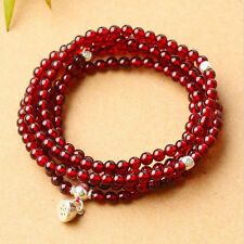 216 3mm A Grade Wine Red  Garnet Beads Prayer Bracelet 27""