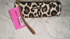 NWT BETSEY JOHNSON LEOPARD PENCIL CASE /MAKE-UP WRISTLET BAG PURSE