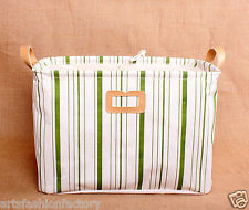 Collapsible Linen Storage Bucket Basket box w Totes vertical Green Stripe
