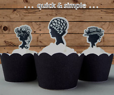 Ladies Cameo Silhouette Gatsby EDIBLE cupcake cake toppers vintage 1920s 21st