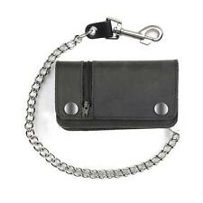 "6"" Men's Black Leather Wallet with Chain Biker Bifold with Side Zipper"