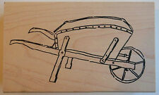 Wheel Barrow Rubber Stamp - Wood Mounted