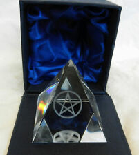 Crystal Pyramid with Laser Etched Pentagram - BNIB - Gift Boxed