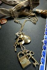 """34"""" heart key top security  chandelier gold tone necklace"""