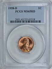 1958-D Lincoln Wheat Cent Penny 1c Pcgs Ms65Rd