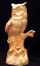 """Alabama Clay Owl Bird on Branch Statue Pottery Figure Statue 10"""" signed MAX   IC"""