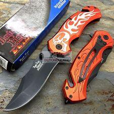 DARK SIDE BLADES Orange Skull Flame Tactical Hunting Pocket Knife DS-A046OR