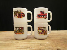 Set 4 Antique Automobile Milk Mugs Buick Ford Packard Spyker Glasbake Jeanette