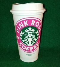 Starbucks Pink Rose Reusable Coffee Tea Cup Plastic Grande Recyclable 16 oz Mug.