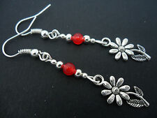 A PAIR TIBETAN SILVER & RED JADE BEAD DANGLY FLOWER EARRINGS. NEW.