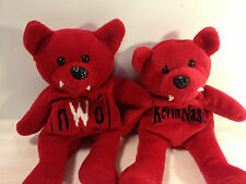 Lot of 2 NWO Kevin Nash  Wolf Pac Plush Bean Bag Stuffed Red Wolves Toy WCW 1999