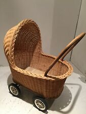 Vintage Wicker Baby Bassinet With Push Handle And Wheels To Wheel For Shopping