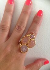 Marcia Moran Gold Four Stone Peach Druzy Ring. New And Stunning!