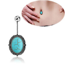 Oval Turquoise 14g Navel Barbell Belly Button Ring 316L Steel Piercing Jewelry