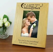 Personalised I love you to the moon and back Wooden Photo Frame 5x7