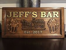 """11"""" x 23"""" x 3/4"""" Wood Carved Personalized Bar Sign, Man Cave Sign, Pub Sign"""