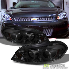 Smoked 06-16 Impala Monte Carlo Dual Halo Projector Headlights +Daytime DRL Led