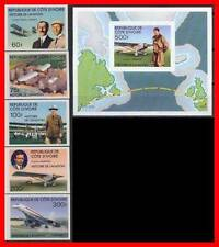 IVORY COAST 1977 AVIATION HISTORY + S/S MNH imperforated CONCORDE PLANE