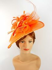 New Church Derby Wedding Pleated Fascinator Hat Headband 2450 Orange