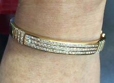 Pre Owned18k Solid Yellow Gold Cluster Ban Three Rows Bangle W/Natural Diamonds