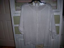 NWOT J.Jill 100% Linen WHITE Peasant Tunic Shirt Top SIZE XL relaxed fits 1X 2X