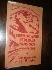 CHEMINS DE FER FEDERAUX SUISSES - Renseignements et Billets - Edition 1934-1935
