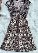 Joseph Ribkoff Women's Twist Front Cap Sleeved Dress Zebra Geo Gray Print Sz 8